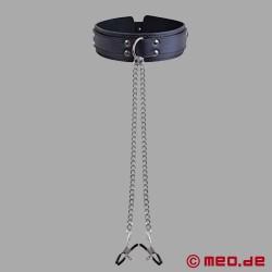 BDSM Halsfessel mit Nippelklemmen
