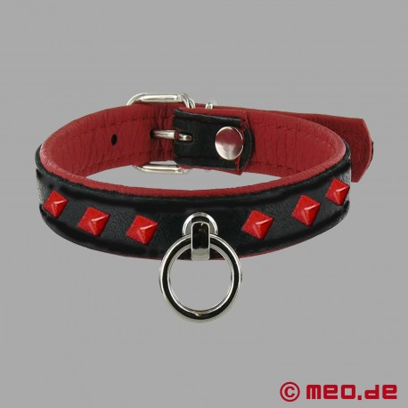 Slave collar with and O-ring and rivets - black/red