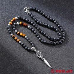 Masculine necklace made of lava stone with a Vajrayana pendant