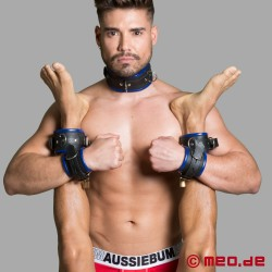 Leather wrist restraints - black/blue - Amsterdam