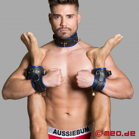 Leather wrist restraints - black/blue - Amsterdam