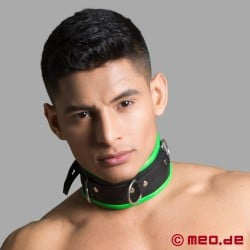 BDSM leather collar - black/green - Amsterdam
