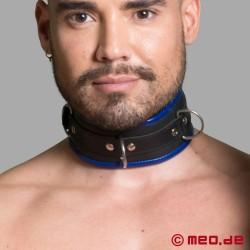 BDSM Halsband aus Leder – schwarz/blau – Amsterdam