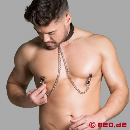 BDSM collar with nipple clamps
