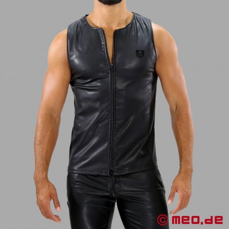 Zipped Fetish Leather Tank Top by TOF Paris