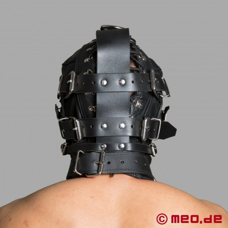 Sensory Deprivation Bondage Maske aus Leder